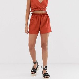 ASOS Design Petite beach jersey shorts in crinkle